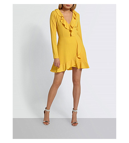 MISSGUIDED Ruffled fit-and-flare crepe mini dress (Mustard