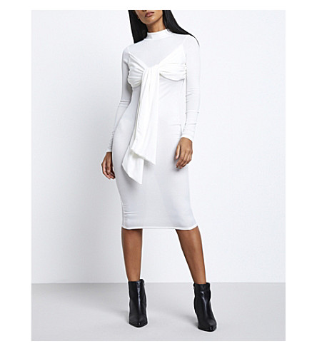MISSGUIDED Missguided x Londunn tie-front knitted mididress (White