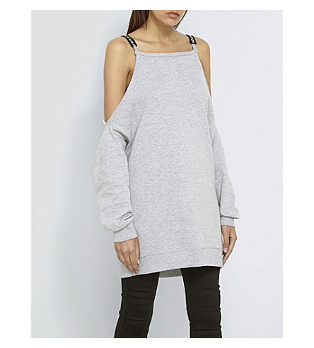 MISSGUIDED Missguided x Londunn jersey sweatshirt dress (Grey