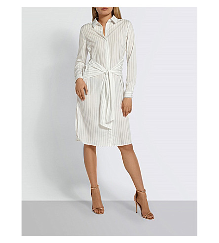 MISSGUIDED Striped woven shirt dress (White