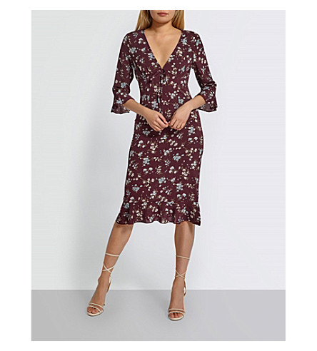 MISSGUIDED Floral-pattern frilled woven dress (Burgundy