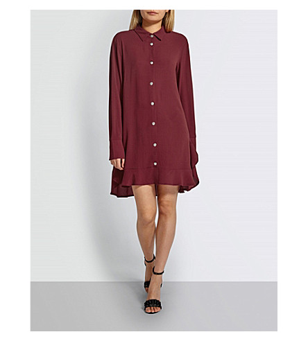 MISSGUIDED Frilled crepe shirt dress (Plum