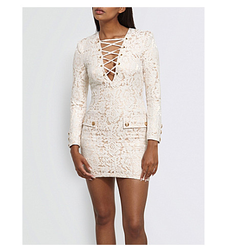 MISSGUIDED Peace + Love lace-up floral lace mini dress (White