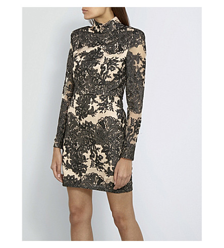 MISSGUIDED Floral-lace mini dress (Black