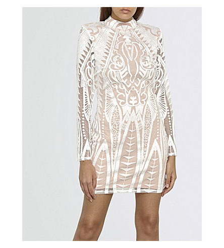 MISSGUIDED Geometric-lace mini dress (White