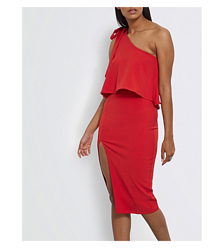 MISSGUIDED Bow-detail one-shoulder crepe dress (Red