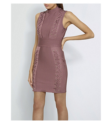 MISSGUIDED Premium bandage woven mini dress (Pink