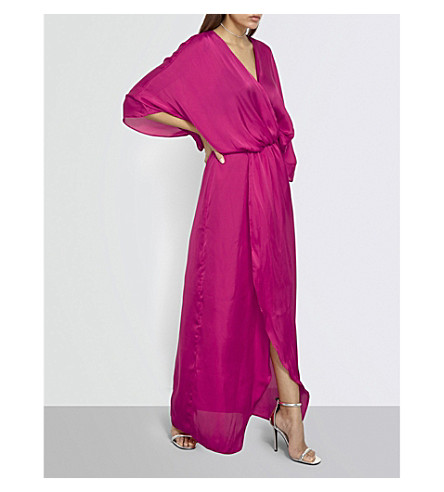 MISSGUIDED Plunge satin maxi dress (Fuchsia