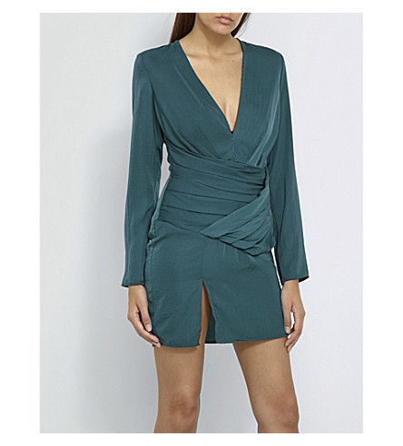 MISSGUIDED V-neck satin mini dress (Green