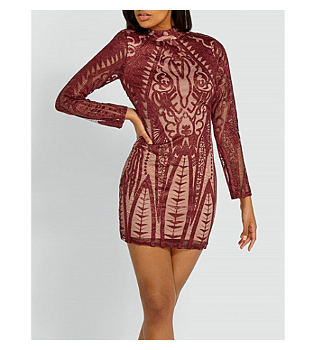 MISSGUIDED High-neck stretch-embroidered dress (Burgundy