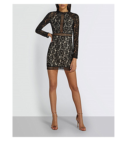 MISSGUIDED High-neck floral-lace dress (Black