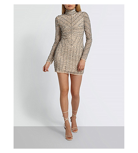 MISSGUIDED Embellished mini dress (Nude