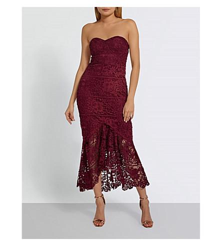 MISSGUIDED Lace fishtail midi dress (Burgundy