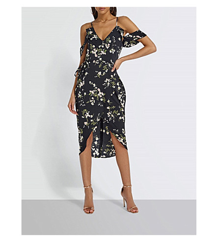 MISSGUIDED Cold-shoulder floral-print crepe midi dress (Black