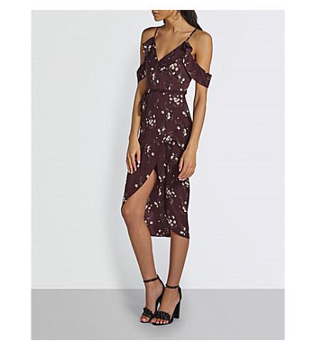 MISSGUIDED Floral-print dress (Burgundy