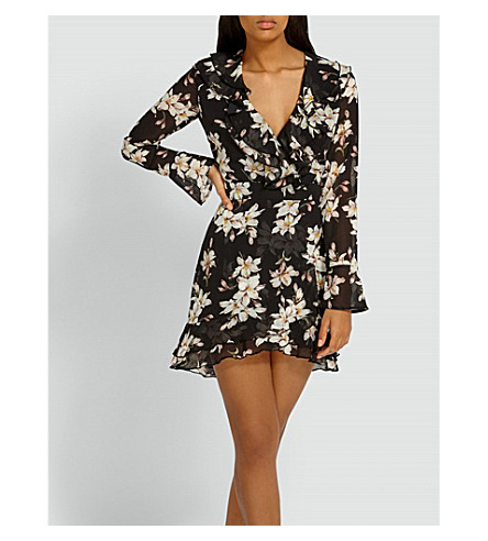 MISSGUIDED Floral-pattern frilled chiffon dress (Black