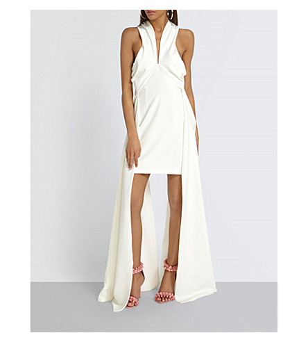 MISSGUIDED Drape-detail woven mini dress (White