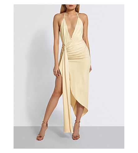 MISSGUIDED Halterneck draped stretch-jersey dress (Nude