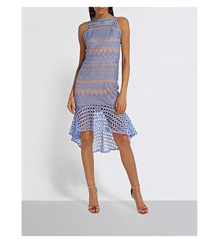 MISSGUIDED Flared-hem geometric lace mini dress (Blue