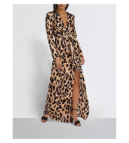 MISSGUIDED Leopard-print crepe maxi wrap dress (Leopard