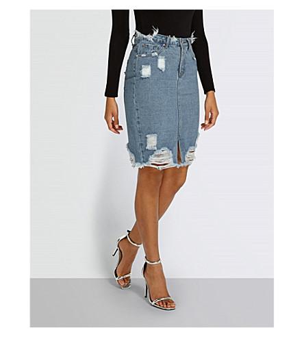 MISSGUIDED Distressed denim skirt (Blue