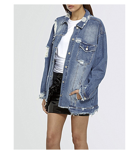 MISSGUIDED Oversized distressed denim jacket (Blue