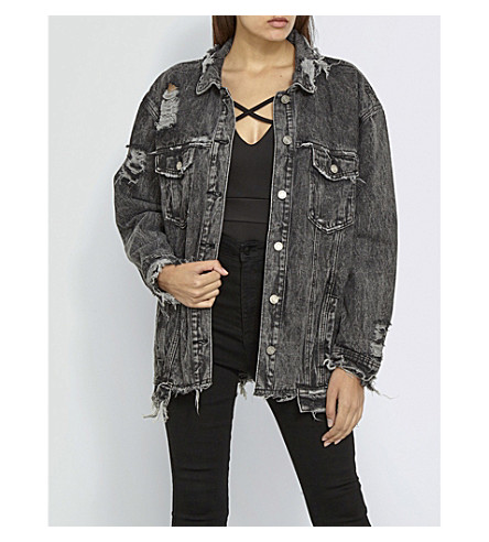 MISSGUIDED Oversized distressed denim jacket (Black