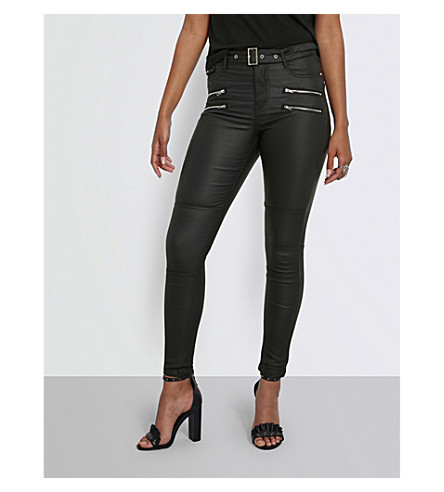 MISSGUIDED Coated high-rise skinny jeans (Black