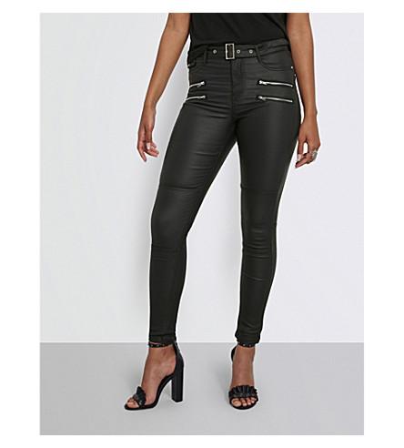 MISSGUIDED 涂层的高腰紧身牛仔裤 (黑色
