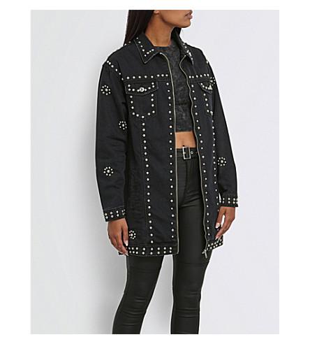 MISSGUIDED Oversized studded denim jacket (Black
