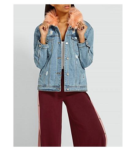 MISSGUIDED Faux-fur collar denim jacket (Blue