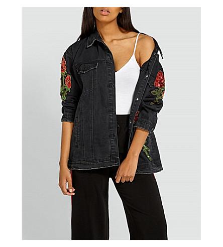 MISSGUIDED Rose denim jacket (Black