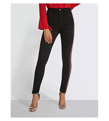MISSGUIDED Contrasting-stripe skinny high-rise jeans (Black