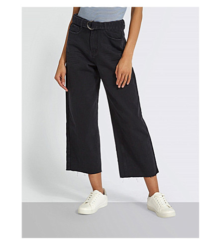 MISSGUIDED Belted wide-leg cropped high-rise jeans (Black