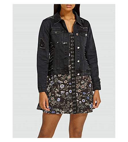 MISSGUIDED Sequinned denim jacket (Black