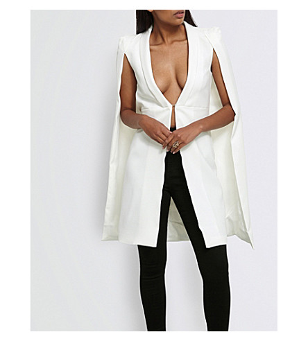 MISSGUIDED Tailored-fit crepe cape blazer (White