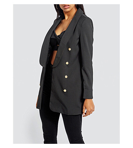 MISSGUIDED Double-breasted crepe blazer (Black