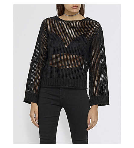 MISSGUIDED Open stitch-knitted jumper (Black
