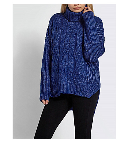 MISSGUIDED Oversized cable-knit jumper (Blue