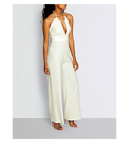 MISSGUIDED Cutout wide-leg jumpsuit (Cream