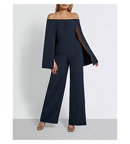 MISSGUIDED Bardot cape-panel woven jumpsuit (Navy