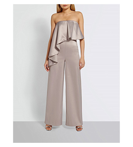 MISSGUIDED Frilled satin jumpsuit (Mauve