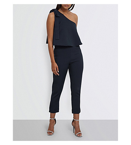 MISSGUIDED One-shoulder crepe jumpsuit (Navy