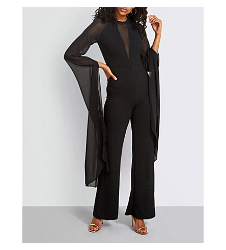 MISSGUIDED Flared-sleeve woven jumpsuit (Black