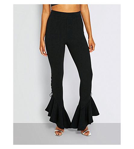 MISSGUIDED 胸衣-装饰折边编织裤 (黑色
