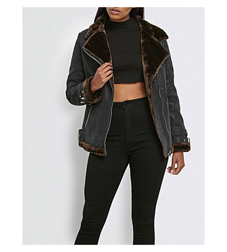 MISSGUIDED Faux-leather aviator jacket (Black