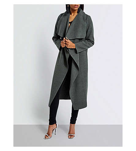 MISSGUIDED Oversized-collar woven coat (Grey