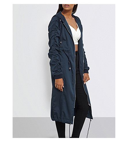 MISSGUIDED Ruched-sleeve woven parka (Navy