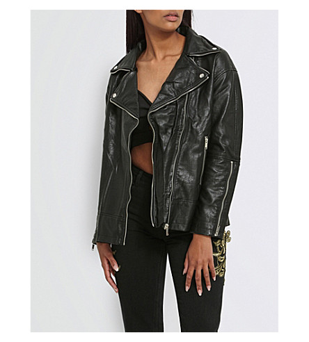 MISSGUIDED Slogan-print faux-leather jacket (Black