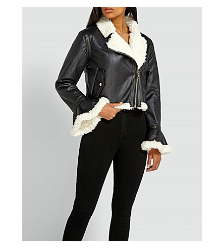 MISSGUIDED Bell-sleeve faux-leather jacket (Black